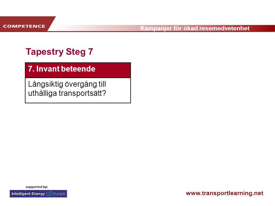 www.transportlearning.net Kampanjer för ökad resemedvetenhet Tapestry Steg 7 7.