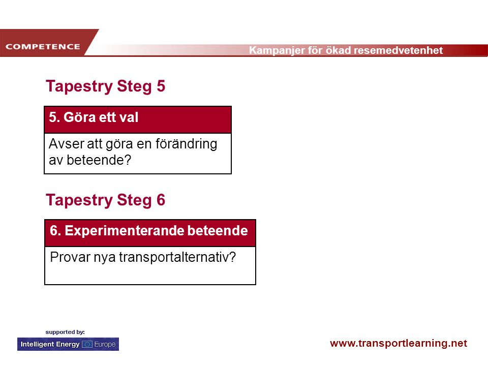 www.transportlearning.net Kampanjer för ökad resemedvetenhet Tapestry Steg 5 Tapestry Steg 6 6. Experimenterande beteende Provar nya transportalternat