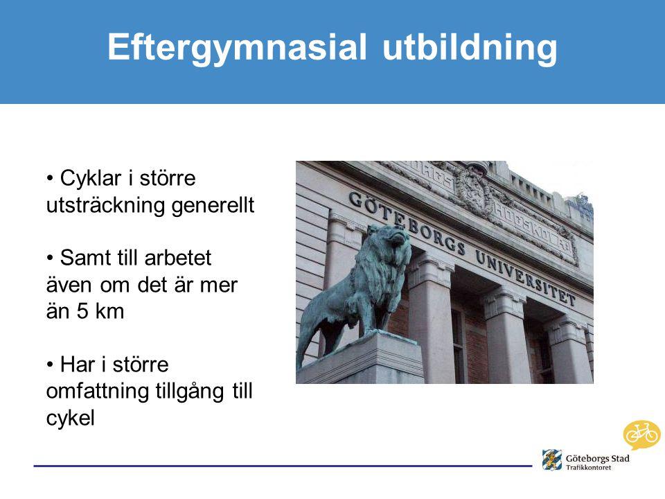 Eftergymnasial utbildning • Cyklar i större utsträckning generellt • Samt till arbetet även om det är mer än 5 km • Har i större omfattning tillgång till cykel