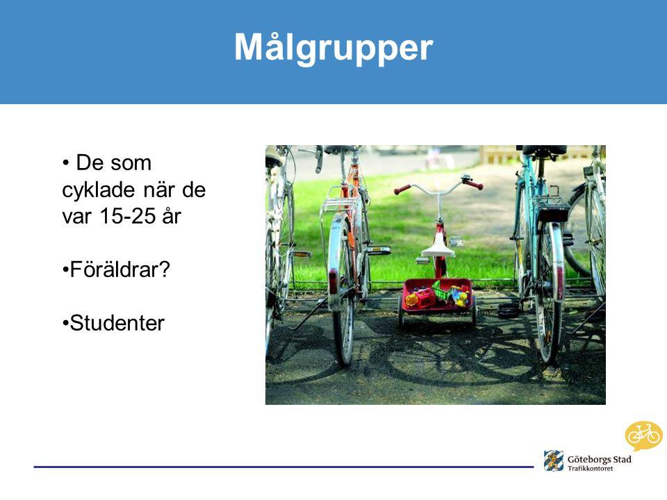 Målgrupper • De som cyklade när de var 15-25 år •Föräldrar •Studenter