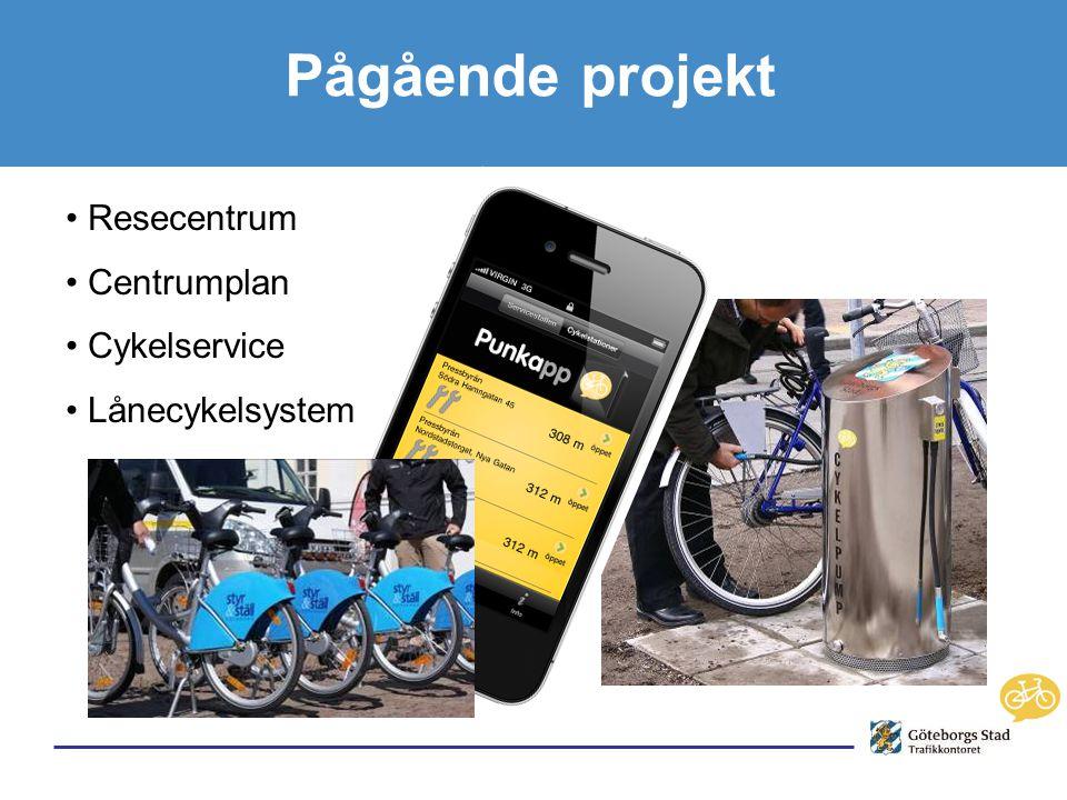 • Resecentrum • Centrumplan • Cykelservice • Lånecykelsystem Pågående projekt