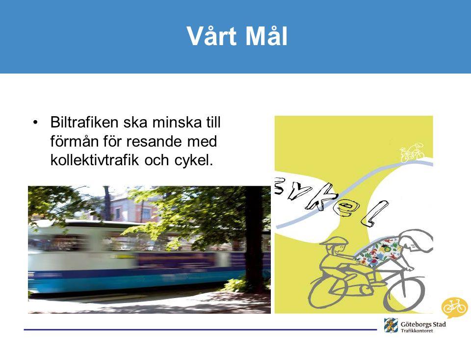Vårt Mål •Biltrafiken ska minska till förmån för resande med kollektivtrafik och cykel.