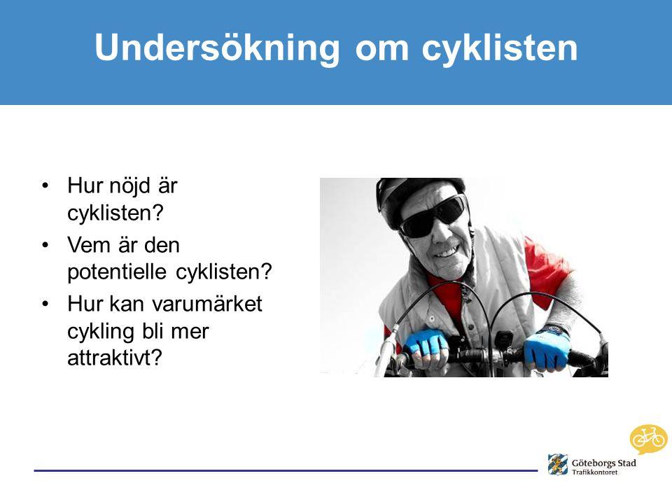 Undersökning om cyklisten •Hur nöjd är cyklisten. •Vem är den potentielle cyklisten.