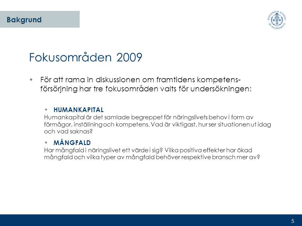 5 Fokusområden 2009 •För att rama in diskussionen om framtidens kompetens- försörjning har tre fokusområden valts för undersökningen: • HUMANKAPITAL Humankapital är det samlade begreppet för näringslivets behov i form av förmågor, inställning och kompetens.