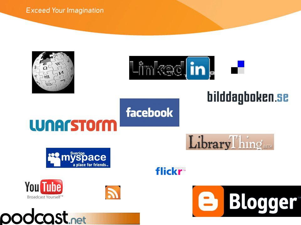 Webb 2.0 (sociala nätverkstjänster) •Användarna/besökarna –är aktiva –är många –skapar själva innehåll •Tjänsterna –är enkla att använda –växer snabbt