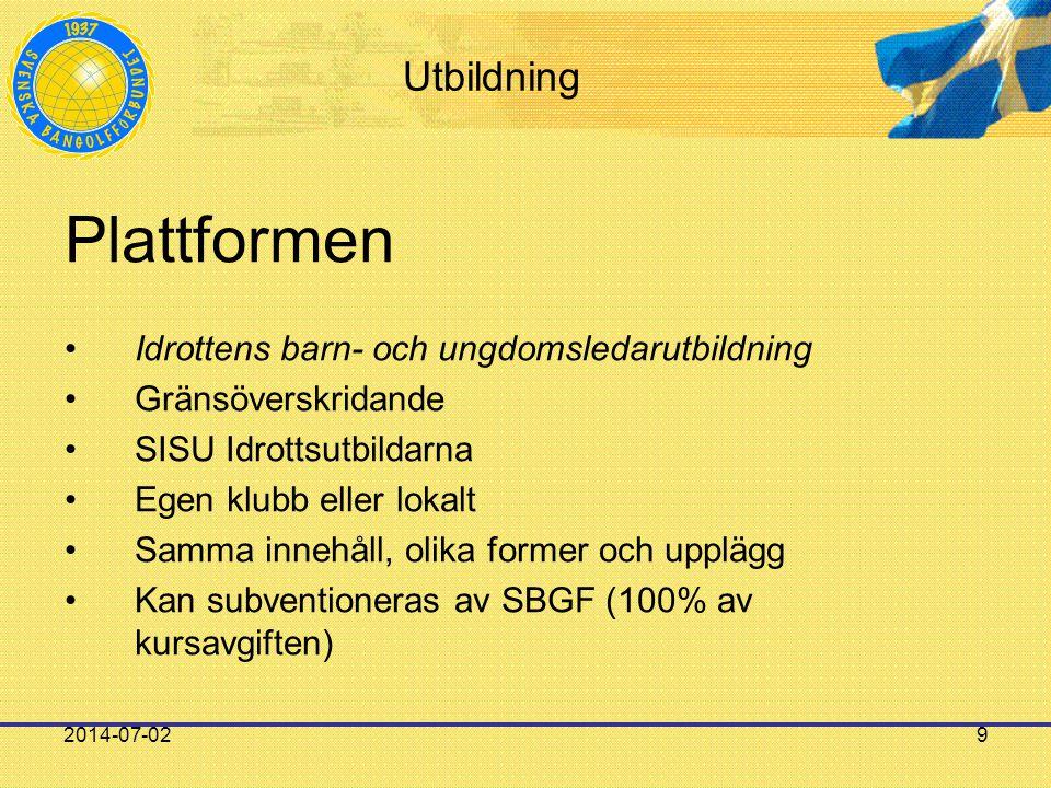 2014-07-029 Utbildning Plattformen •Idrottens barn- och ungdomsledarutbildning •Gränsöverskridande •SISU Idrottsutbildarna •Egen klubb eller lokalt •S