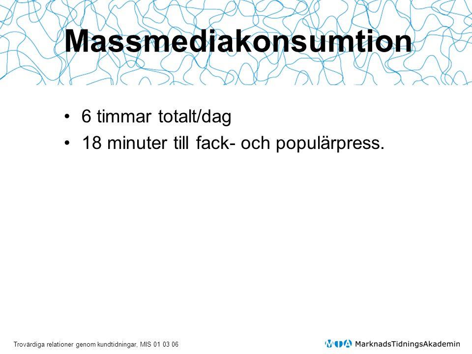 Trovärdiga relationer genom kundtidningar, MIS 01 03 06 Massmediakonsumtion • 6 timmar totalt/dag • 18 minuter till fack- och populärpress.