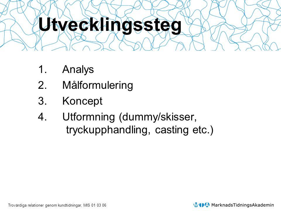 Trovärdiga relationer genom kundtidningar, MIS 01 03 06 Utvecklingssteg 1.