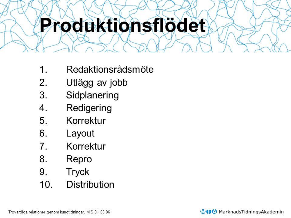 Trovärdiga relationer genom kundtidningar, MIS 01 03 06 Produktionsflödet 1.