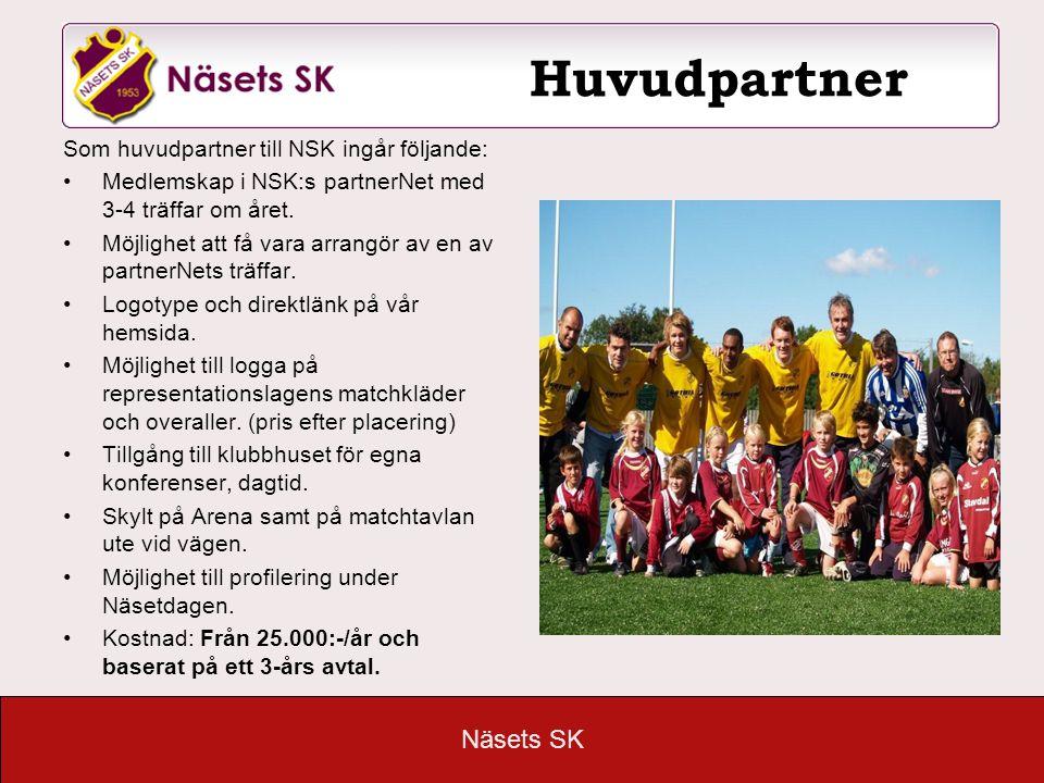 Näsets SK Huvudpartner Som huvudpartner till NSK ingår följande: •Medlemskap i NSK:s partnerNet med 3-4 träffar om året. •Möjlighet att få vara arrang