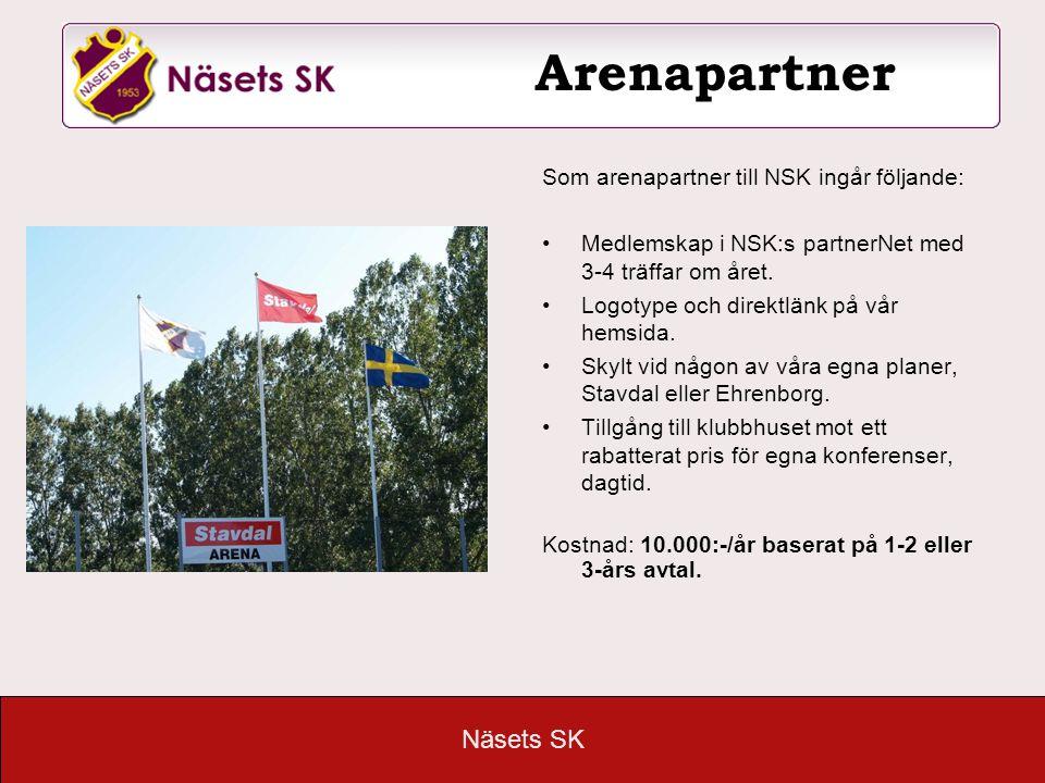 Näsets SK Arenapartner Som arenapartner till NSK ingår följande: •Medlemskap i NSK:s partnerNet med 3-4 träffar om året. •Logotype och direktlänk på v
