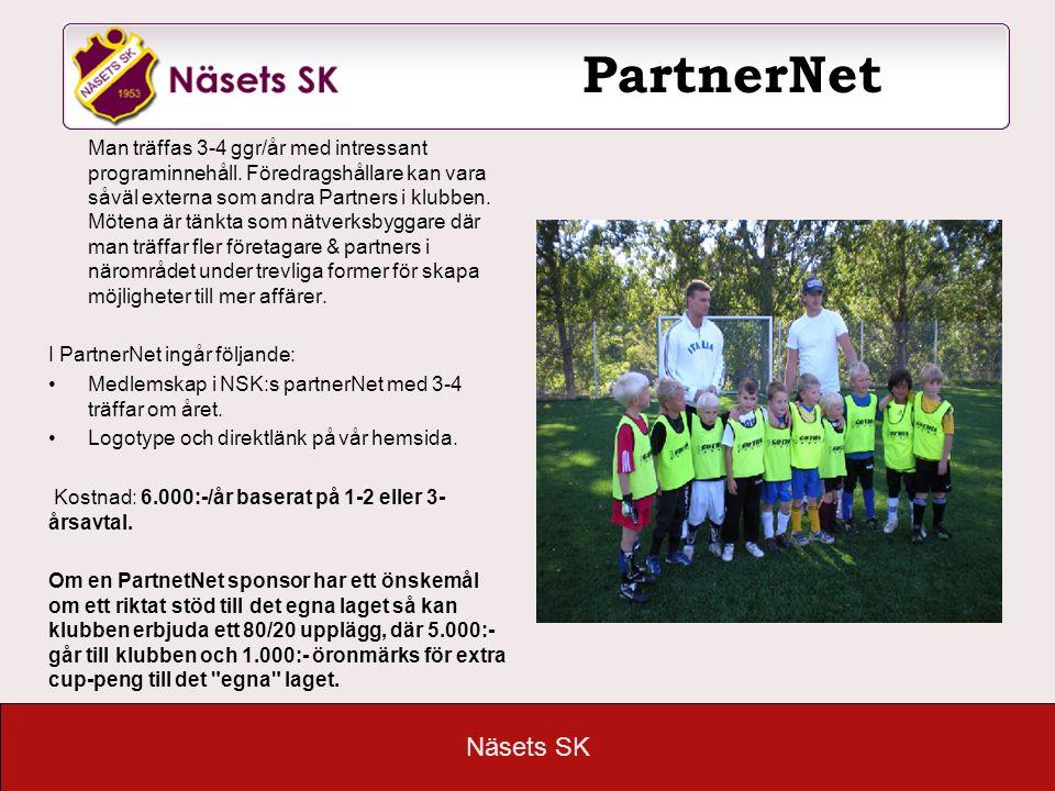 Näsets SK PartnerNet Man träffas 3-4 ggr/år med intressant programinnehåll. Föredragshållare kan vara såväl externa som andra Partners i klubben. Möte