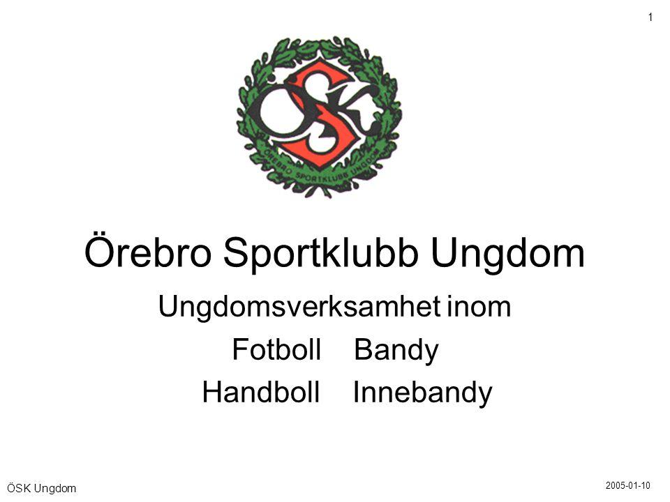 2005-01-10 1 ÖSK Ungdom Örebro Sportklubb Ungdom Ungdomsverksamhet inom Fotboll Bandy Handboll Innebandy
