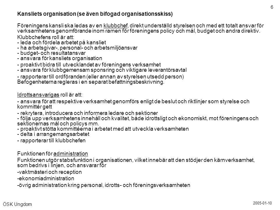2005-01-10 6 ÖSK Ungdom Kansliets organisation (se även bifogad organisationsskiss) Föreningens kansli ska ledas av en klubbchef, direkt underställd s