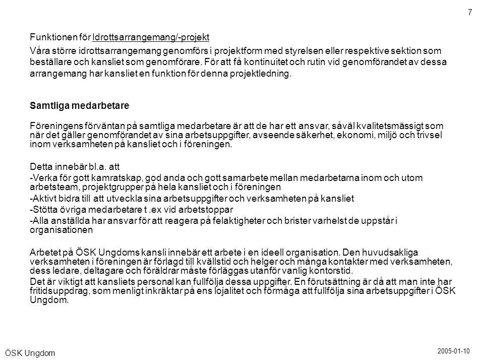 2005-01-10 7 ÖSK Ungdom Funktionen för Idrottsarrangemang/-projekt Våra större idrottsarrangemang genomförs i projektform med styrelsen eller respekti