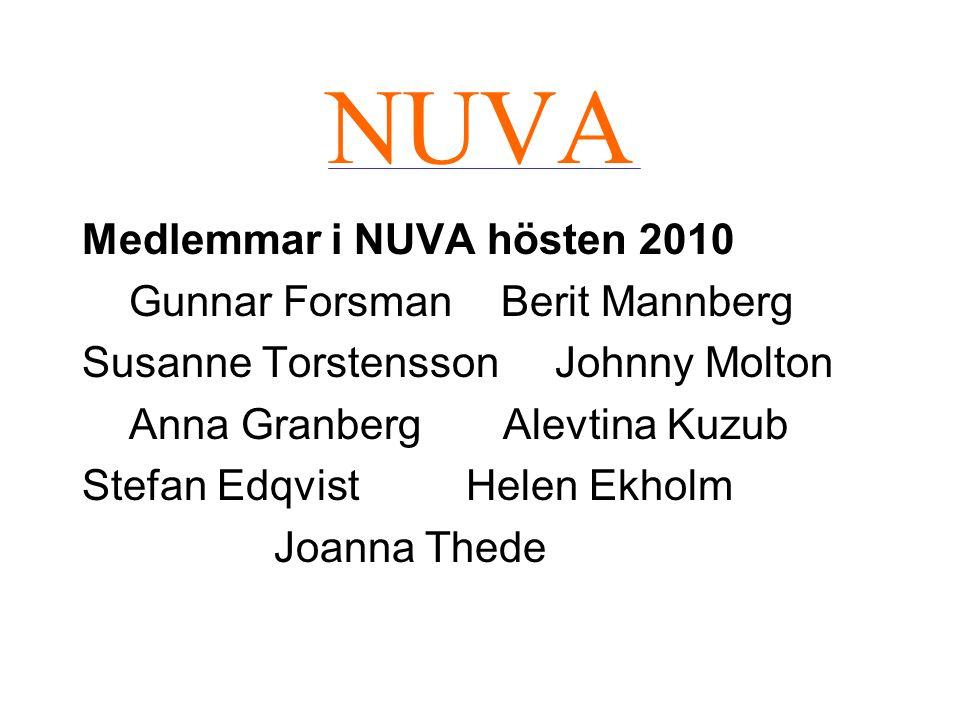 NUVA Medlemmar i NUVA hösten 2010 Gunnar Forsman Berit Mannberg Susanne Torstensson Johnny Molton Anna Granberg Alevtina Kuzub Stefan EdqvistHelen Ekh
