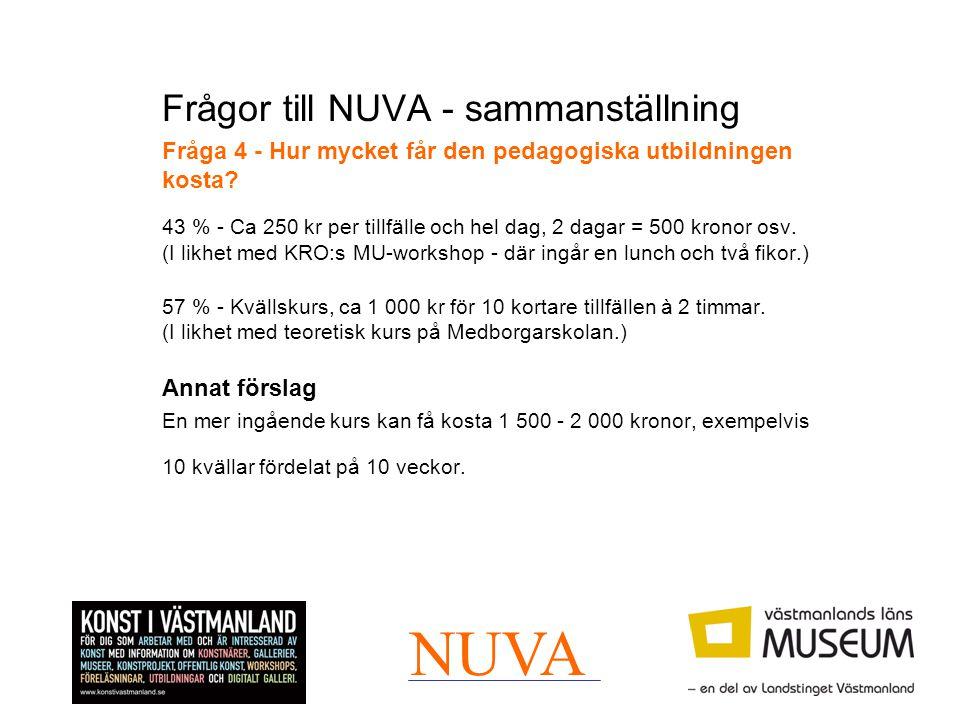Frågor till NUVA - sammanställning Fråga 4 - Hur mycket får den pedagogiska utbildningen kosta? 43 % - Ca 250 kr per tillfälle och hel dag, 2 dagar =