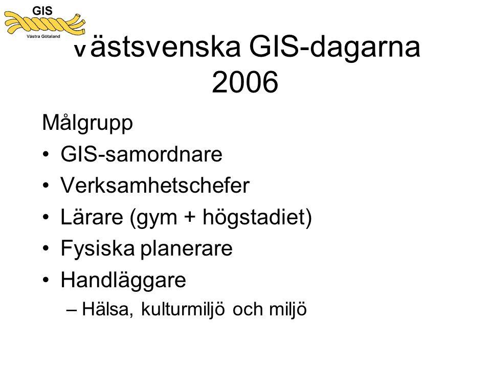 Västsvenska GIS-dagarna 2006 Målgrupp •GIS-samordnare •Verksamhetschefer •Lärare (gym + högstadiet) •Fysiska planerare •Handläggare –Hälsa, kulturmiljö och miljö