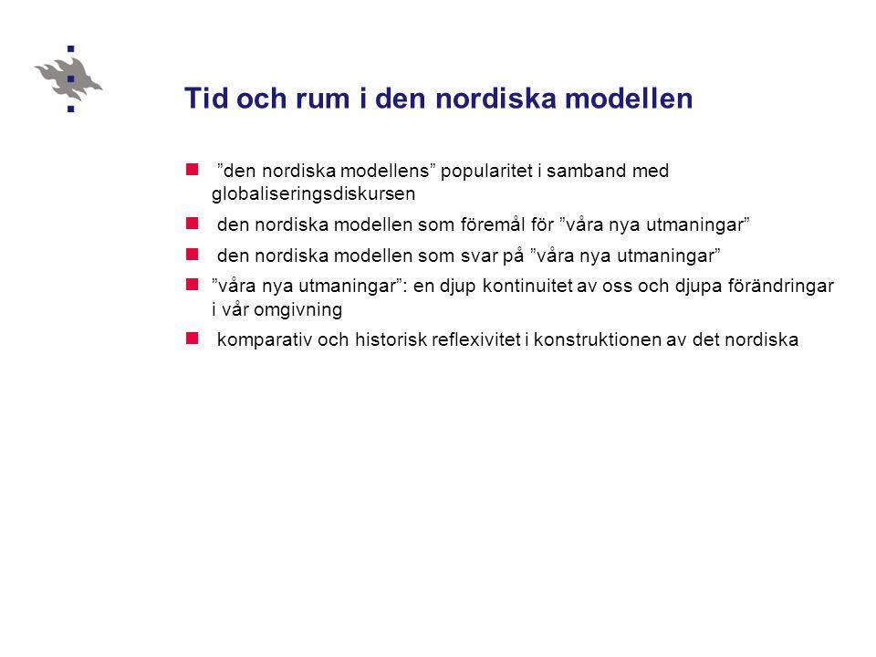 Tid och rum i den nordiska modellen  den nordiska modellens popularitet i samband med globaliseringsdiskursen  den nordiska modellen som föremål för våra nya utmaningar  den nordiska modellen som svar på våra nya utmaningar  våra nya utmaningar : en djup kontinuitet av oss och djupa förändringar i vår omgivning  komparativ och historisk reflexivitet i konstruktionen av det nordiska