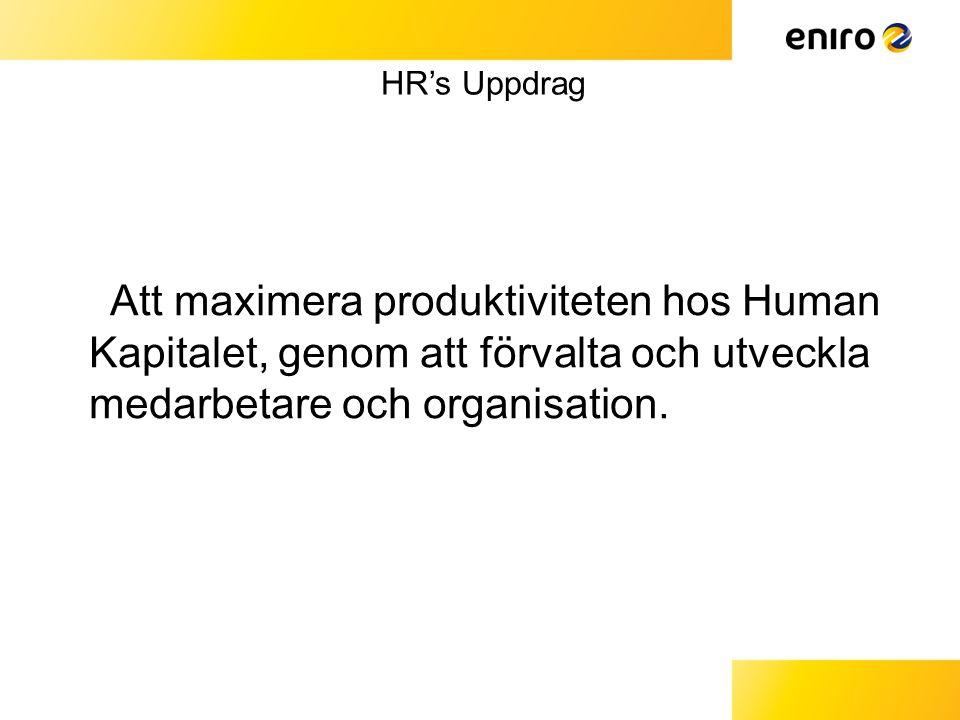 HR's Uppdrag Att maximera produktiviteten hos Human Kapitalet, genom att förvalta och utveckla medarbetare och organisation.