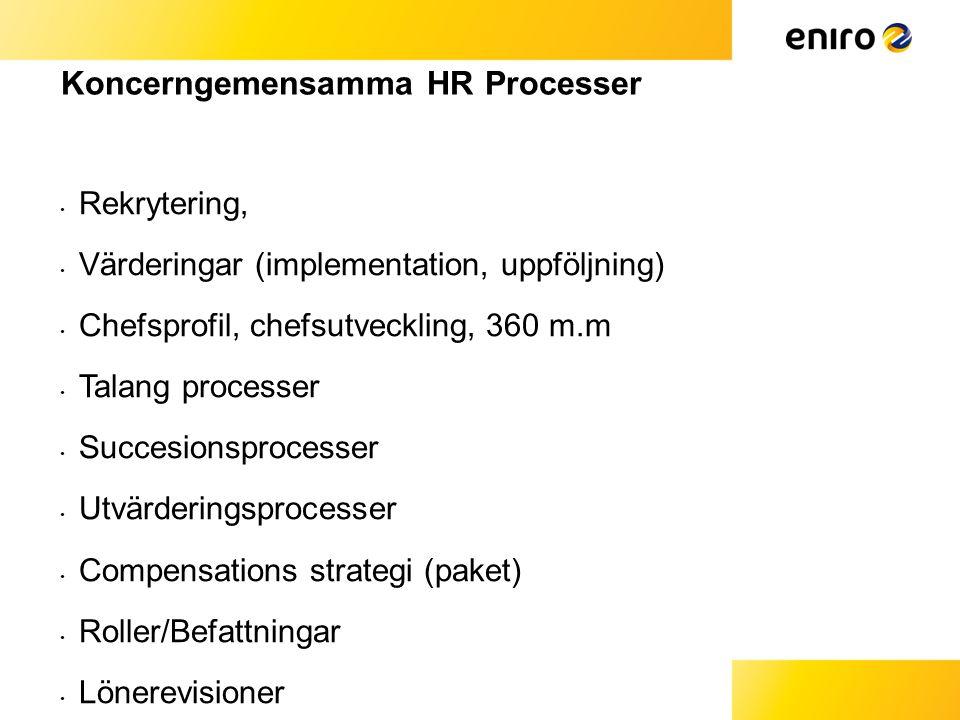 Koncerngemensamma HR Processer • Rekrytering, • Värderingar (implementation, uppföljning) • Chefsprofil, chefsutveckling, 360 m.m • Talang processer • Succesionsprocesser • Utvärderingsprocesser • Compensations strategi (paket) • Roller/Befattningar • Lönerevisioner • Karriärutveckling • Emp.Brand aktivieter (profil)