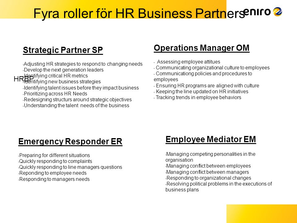Fyra roller för HR Business Partners HRBP Strategic Partner SP • Adjusting HR strategies to respond to changing needs • Develop the next generation le