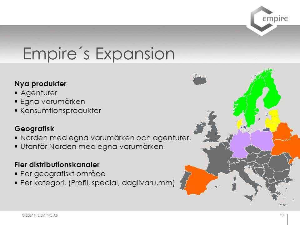 © 2007 THE EMPIRE AB 10 Empire´s Expansion Nya produkter  Agenturer  Egna varumärken  Konsumtionsprodukter Geografisk  Norden med egna varumärken och agenturer.