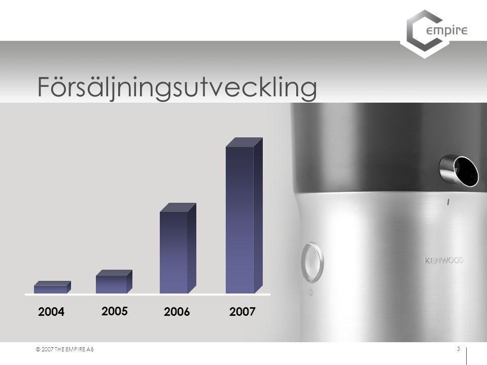 © 2007 THE EMPIRE AB 3 Försäljningsutveckling 2004 2005 2006 2007