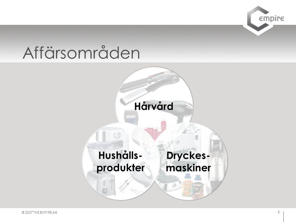 © 2007 THE EMPIRE AB 5 Affärsområden Hushålls- produkter Dryckes- maskiner Hårvård