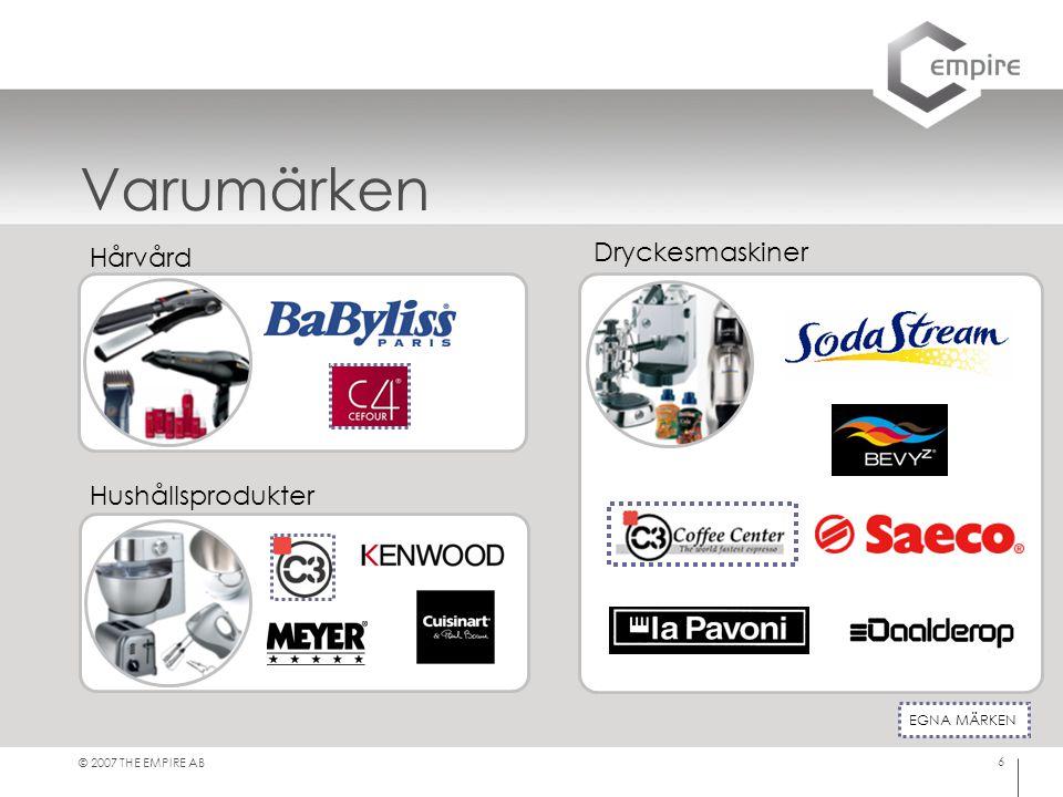 © 2007 THE EMPIRE AB 6 Varumärken EGNA MÄRKEN Hårvård Hushållsprodukter Dryckesmaskiner