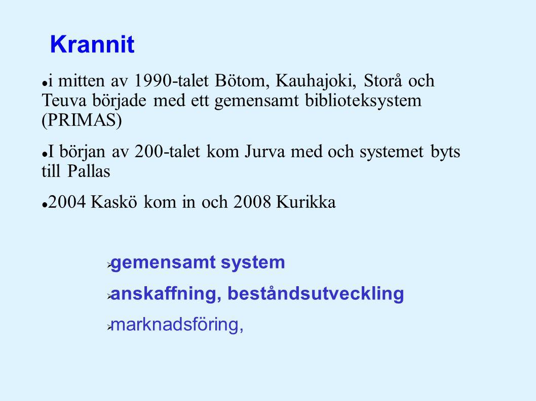  i mitten av 1990-talet Bötom, Kauhajoki, Storå och Teuva började med ett gemensamt biblioteksystem (PRIMAS)  I början av 200-talet kom Jurva med och systemet byts till Pallas  2004 Kaskö kom in och 2008 Kurikka  gemensamt system  anskaffning, beståndsutveckling  marknadsföring, Krannit