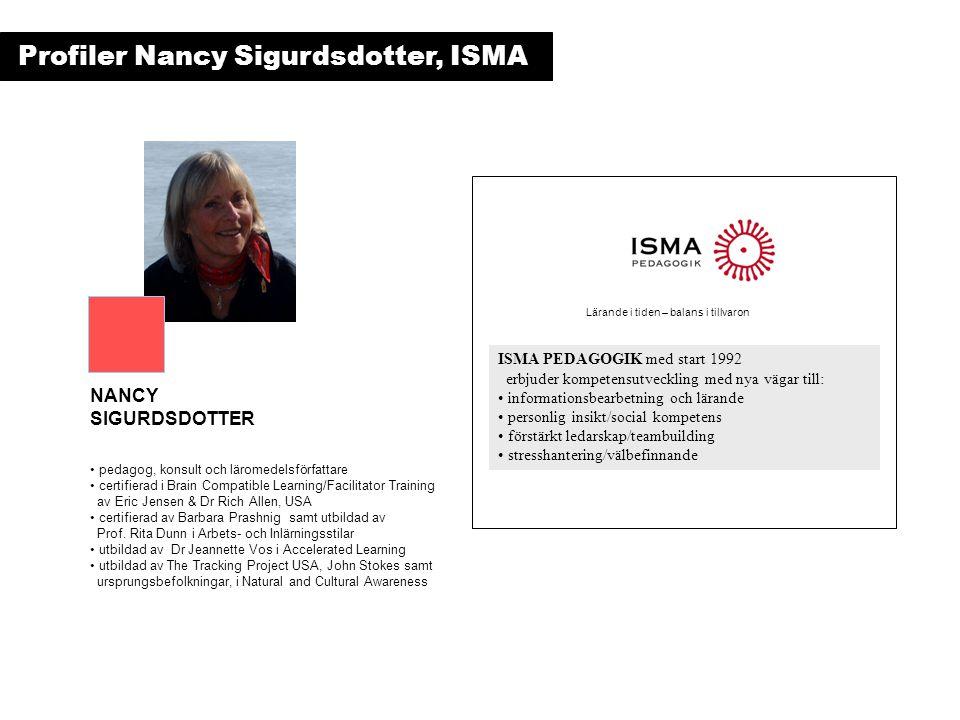 ISMA PEDAGOGIK med start 1992 erbjuder kompetensutveckling med nya vägar till: • informationsbearbetning och lärande • personlig insikt/social kompetens • förstärkt ledarskap/teambuilding • stresshantering/välbefinnande • pedagog, konsult och läromedelsförfattare • certifierad i Brain Compatible Learning/Facilitator Training av Eric Jensen & Dr Rich Allen, USA • certifierad av Barbara Prashnig samt utbildad av Prof.