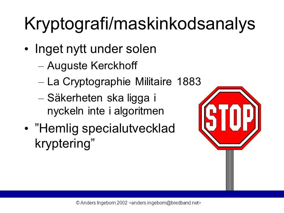 © Anders Ingeborn 2002 Kryptografi/maskinkodsanalys • Inget nytt under solen – Auguste Kerckhoff – La Cryptographie Militaire 1883 – Säkerheten ska ligga i nyckeln inte i algoritmen • Hemlig specialutvecklad kryptering