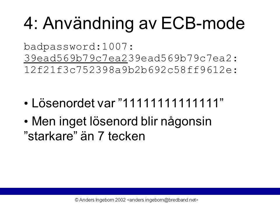 © Anders Ingeborn 2002 4: Användning av ECB-mode badpassword:1007: 39ead569b79c7ea239ead569b79c7ea2: 12f21f3c752398a9b2b692c58ff9612e: • Lösenordet var 11111111111111 • Men inget lösenord blir någonsin starkare än 7 tecken