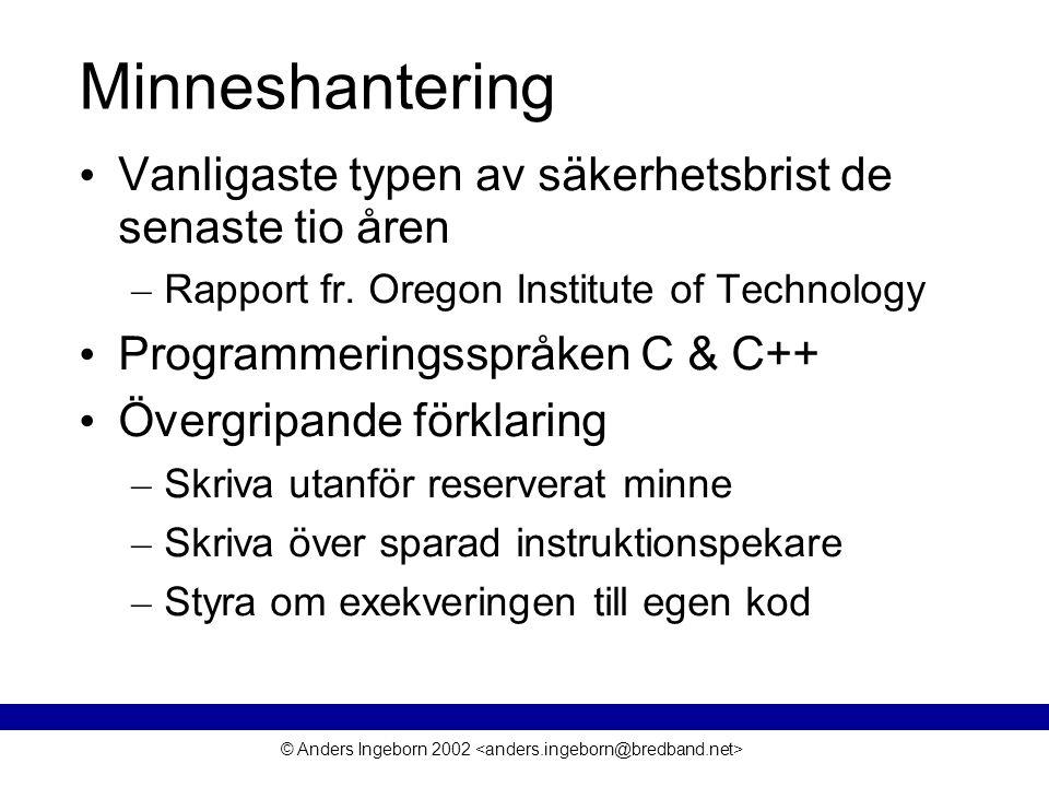© Anders Ingeborn 2002 Minneshantering • Vanligaste typen av säkerhetsbrist de senaste tio åren – Rapport fr.