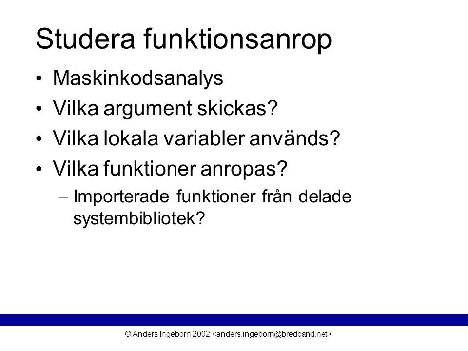 © Anders Ingeborn 2002 Studera funktionsanrop • Maskinkodsanalys • Vilka argument skickas.