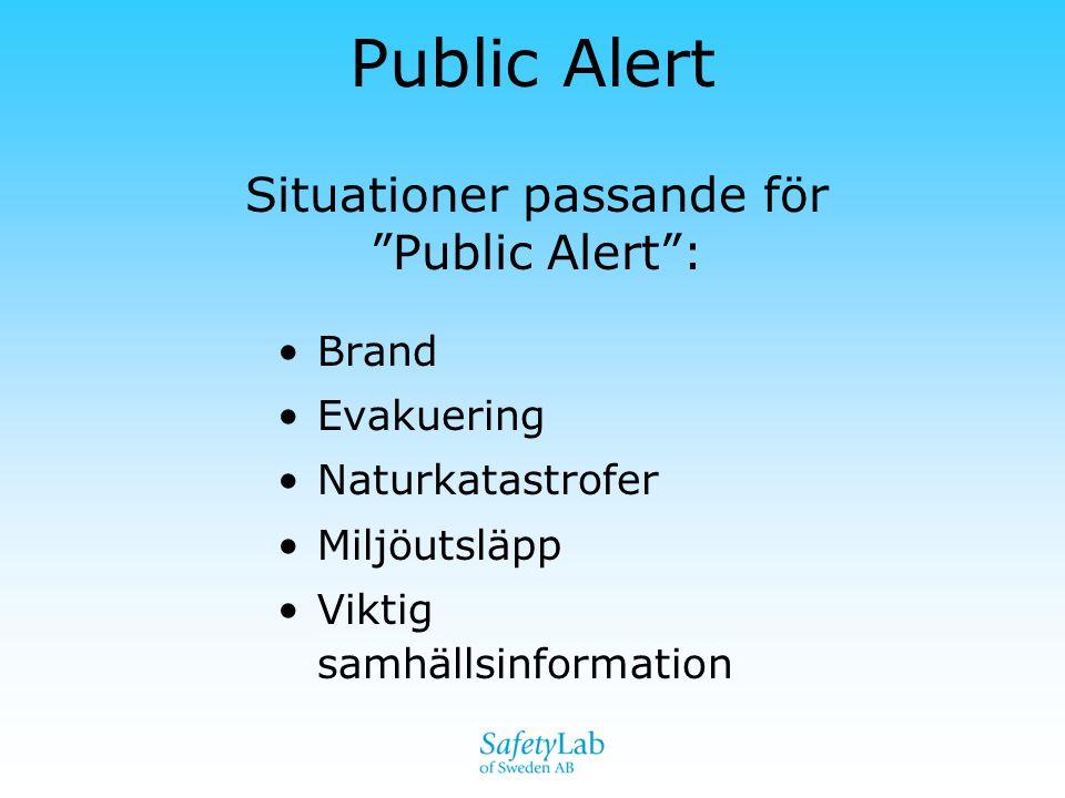"""•Brand •Evakuering •Naturkatastrofer •Miljöutsläpp •Viktig samhällsinformation Public Alert Situationer passande för """"Public Alert"""":"""
