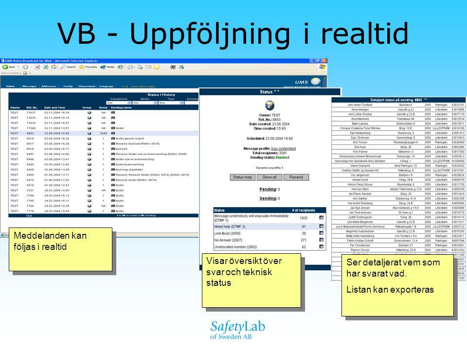 VB - Uppföljning i realtid Meddelanden kan följas i realtid Visar översikt över svar och teknisk status Ser detaljerat vem som har svarat vad. Listan