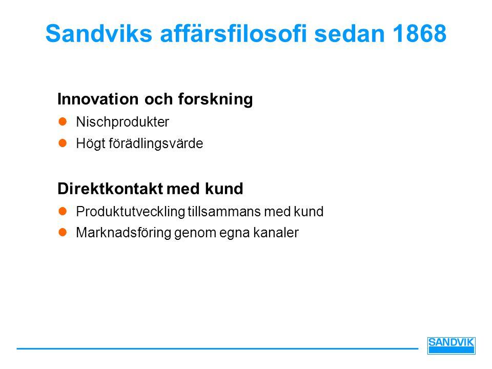 Sandviks affärsfilosofi sedan 1868 Innovation och forskning  Nischprodukter  Högt förädlingsvärde Direktkontakt med kund  Produktutveckling tillsammans med kund  Marknadsföring genom egna kanaler