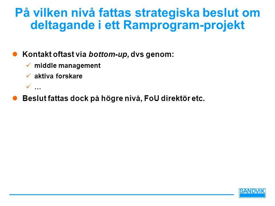 På vilken nivå fattas strategiska beslut om deltagande i ett Ramprogram-projekt  Kontakt oftast via bottom-up, dvs genom:  middle management  aktiva forskare  …  Beslut fattas dock på högre nivå, FoU direktör etc.
