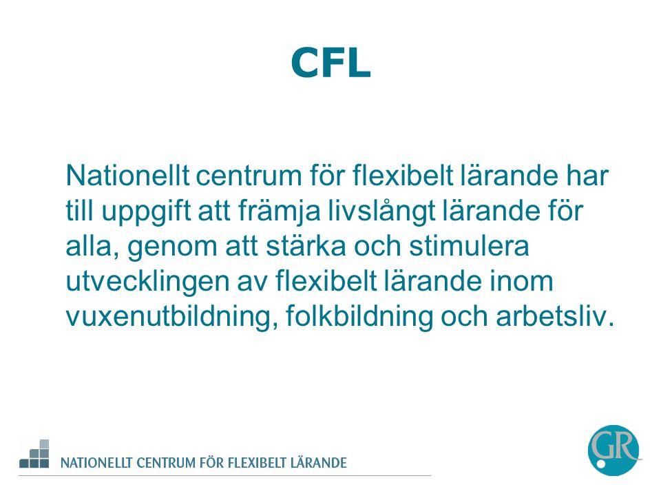 Nationellt centrum för flexibelt lärande har till uppgift att främja livslångt lärande för alla, genom att stärka och stimulera utvecklingen av flexibelt lärande inom vuxenutbildning, folkbildning och arbetsliv.