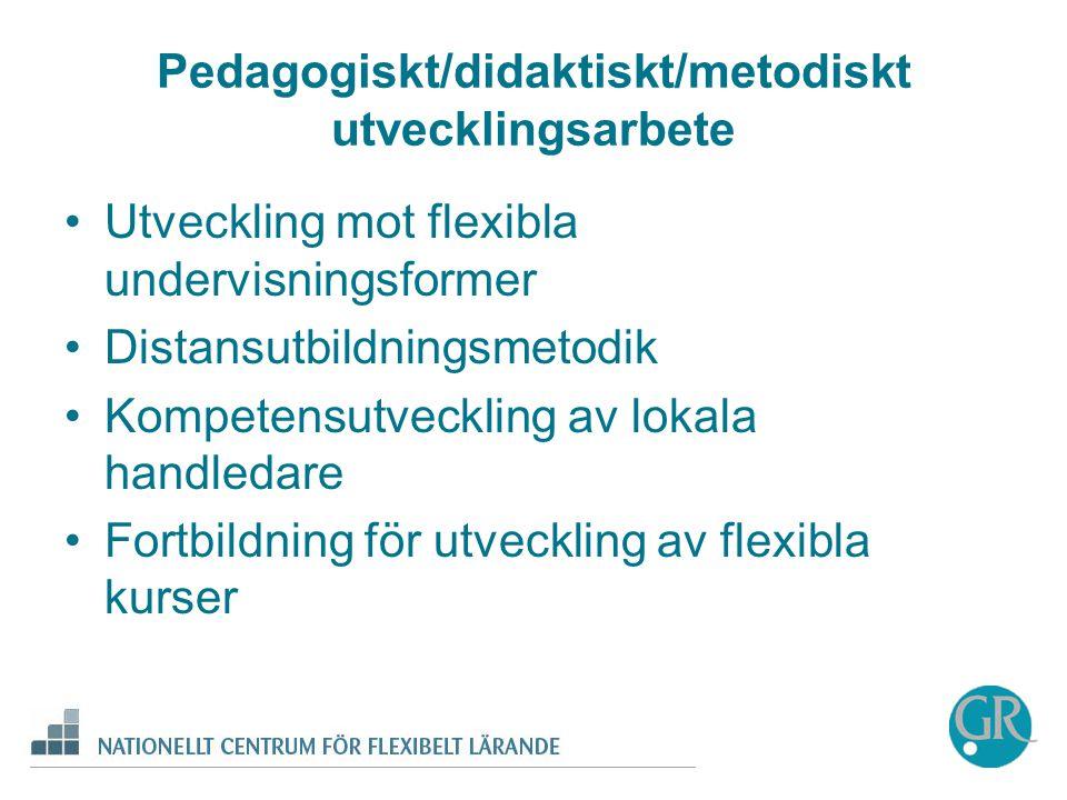 Pedagogiskt/didaktiskt/metodiskt utvecklingsarbete •Utveckling mot flexibla undervisningsformer •Distansutbildningsmetodik •Kompetensutveckling av lokala handledare •Fortbildning för utveckling av flexibla kurser
