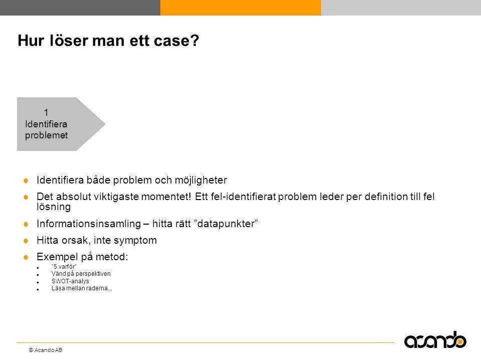 © Acando AB Hur löser man ett case?  Identifiera både problem och möjligheter  Det absolut viktigaste momentet! Ett fel-identifierat problem leder p