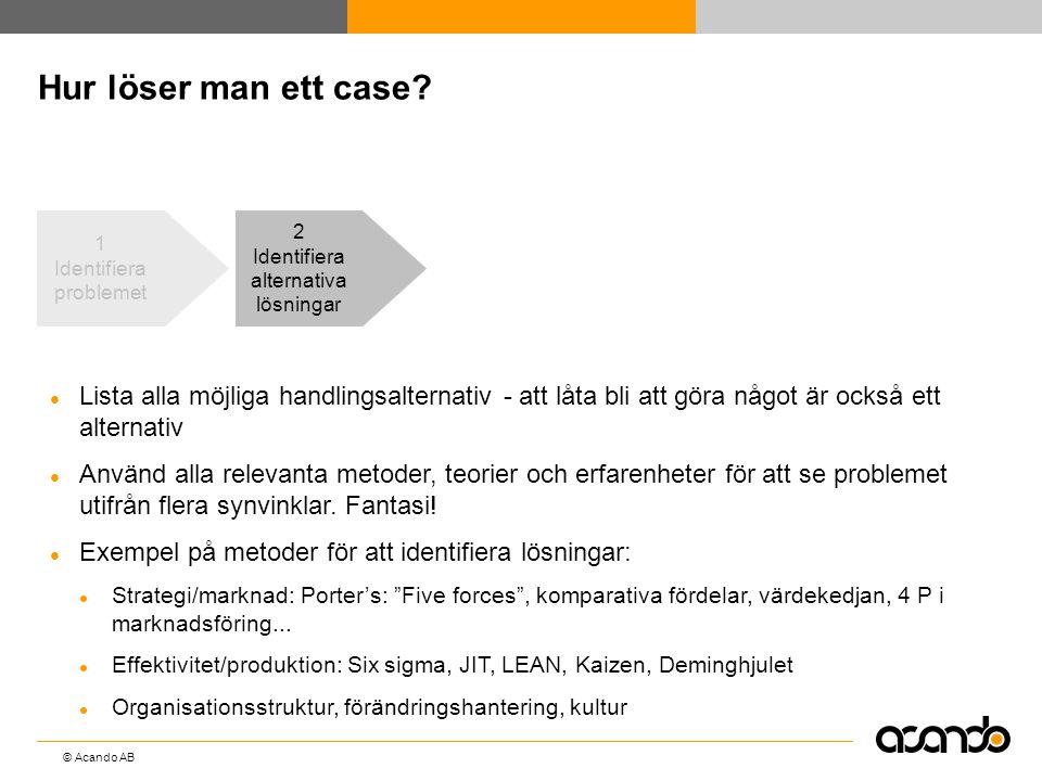 © Acando AB Hur löser man ett case? 2 Identifiera alternativa lösningar  Lista alla möjliga handlingsalternativ - att låta bli att göra något är ocks
