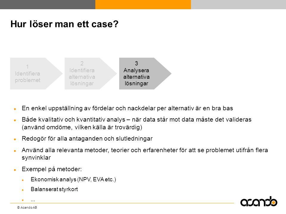 © Acando AB Hur löser man ett case? 3 Analysera alternativa lösningar  En enkel uppställning av fördelar och nackdelar per alternativ är en bra bas 
