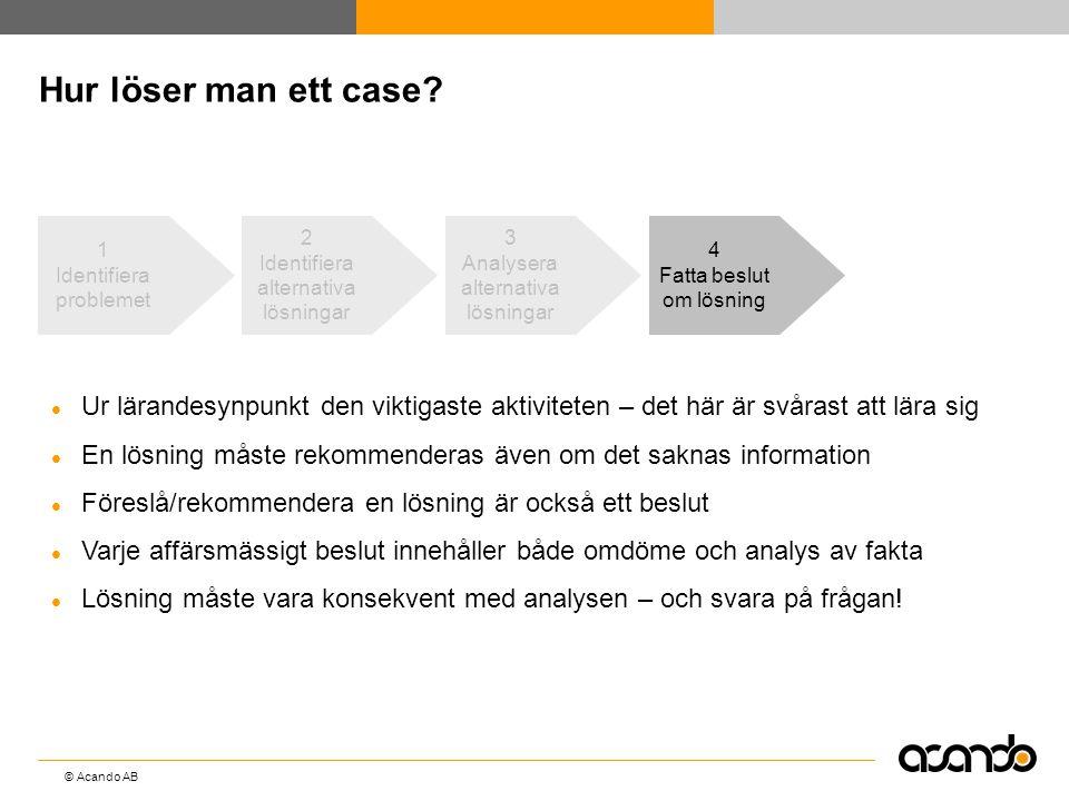 © Acando AB Hur löser man ett case? 4 Fatta beslut om lösning  Ur lärandesynpunkt den viktigaste aktiviteten – det här är svårast att lära sig  En l