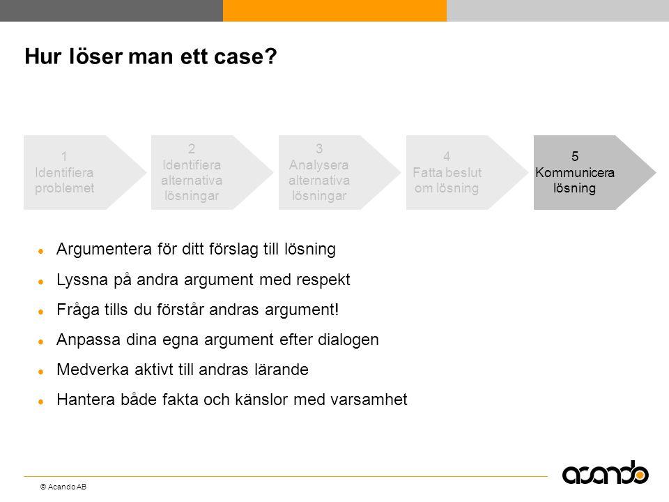 © Acando AB Hur löser man ett case? 5 Kommunicera lösning  Argumentera för ditt förslag till lösning  Lyssna på andra argument med respekt  Fråga t