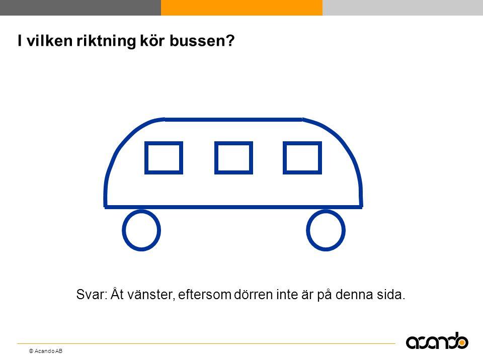 © Acando AB I vilken riktning kör bussen? Svar: Åt vänster, eftersom dörren inte är på denna sida.