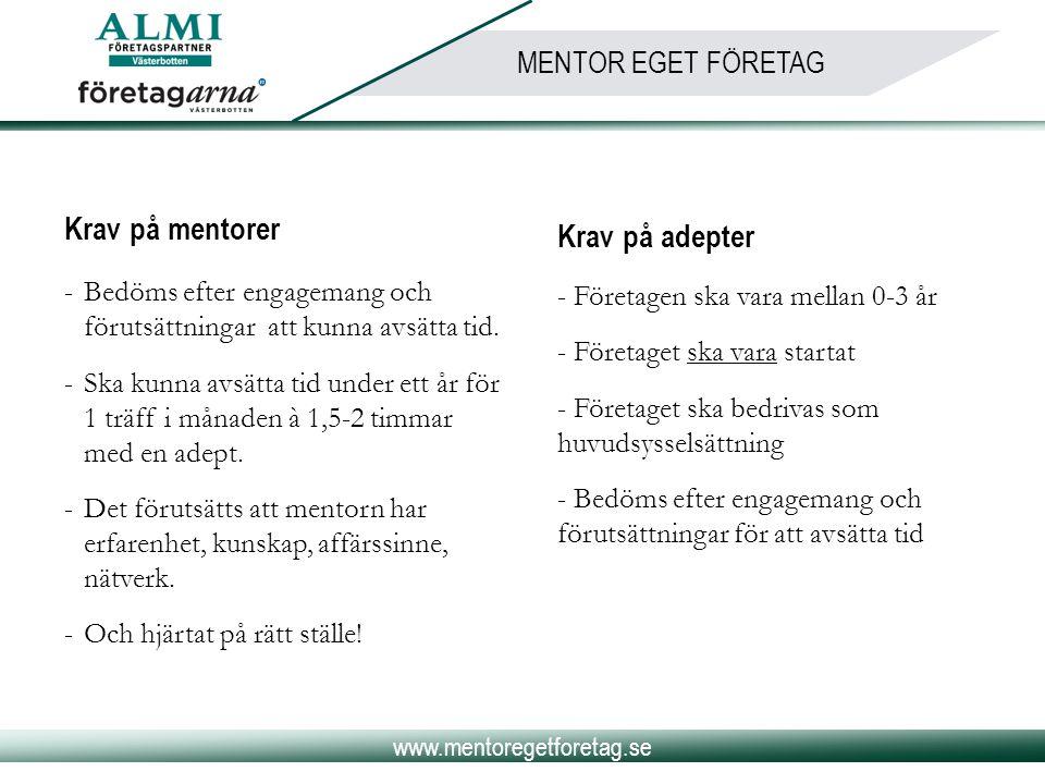 www.mentoregetforetag.se MENTOR EGET FÖRETAG Krav på mentorer -Bedöms efter engagemang och förutsättningar att kunna avsätta tid. -Ska kunna avsätta t
