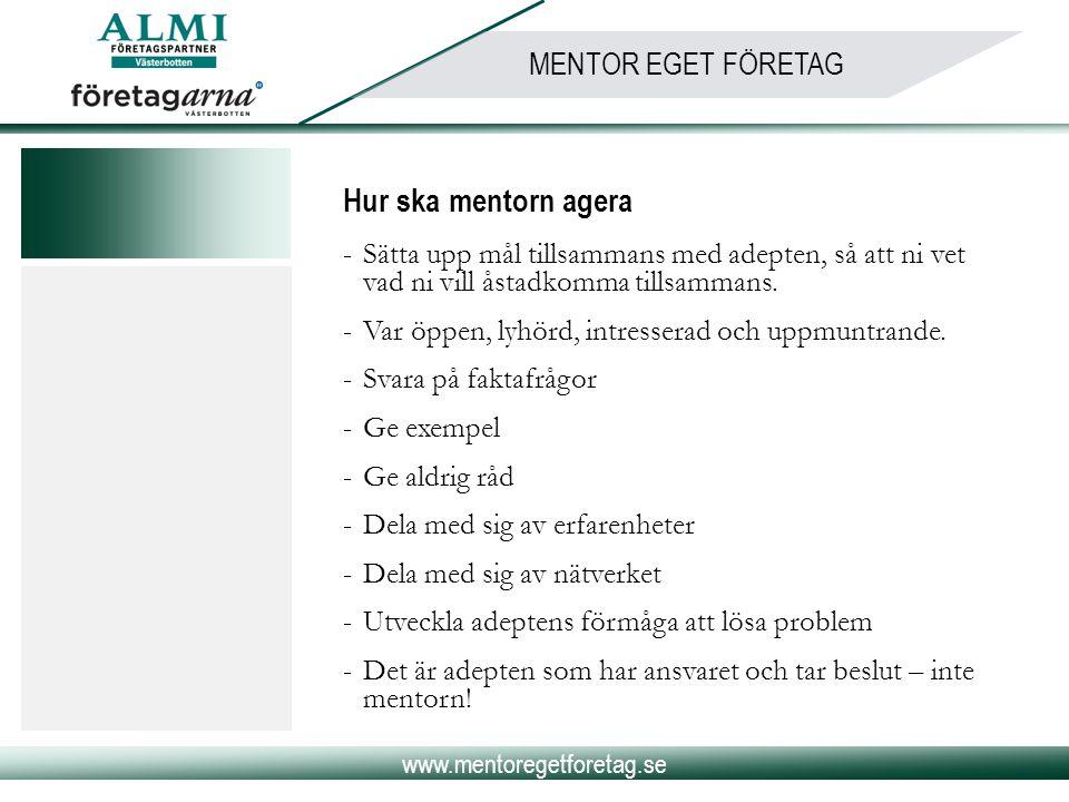 www.mentoregetforetag.se MENTOR EGET FÖRETAG Hur ska mentorn agera -Sätta upp mål tillsammans med adepten, så att ni vet vad ni vill åstadkomma tillsa